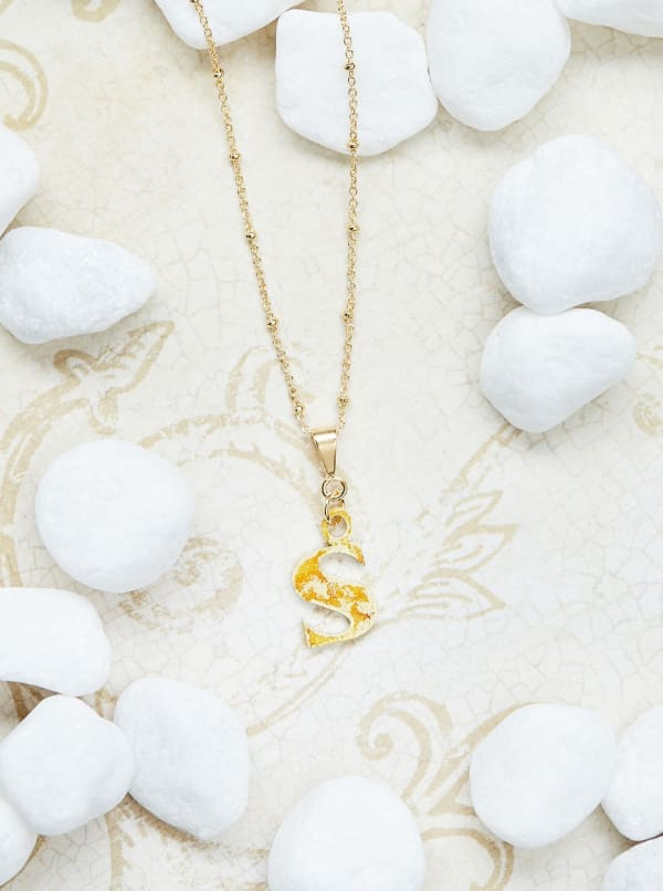 14K Gold Plated S Charm Necklace - Gold - Front