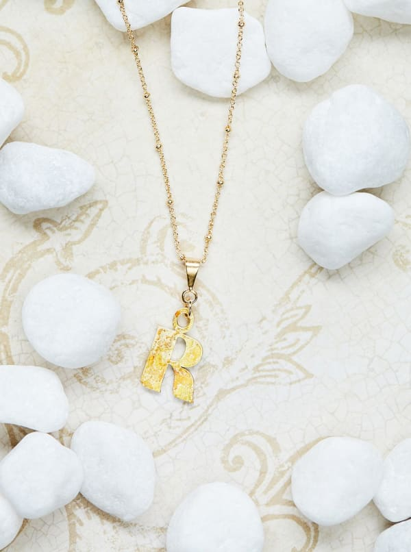 14K Gold Plated R Charm Necklace - Gold - Front
