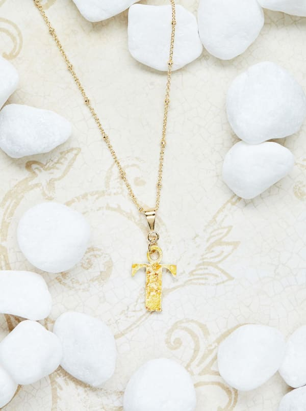 14K Gold Plated T Charm Necklace - Gold - Front