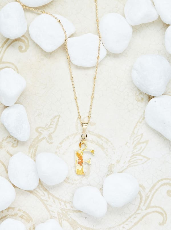 14K Gold Plated F Charm Necklace - Gold - Front