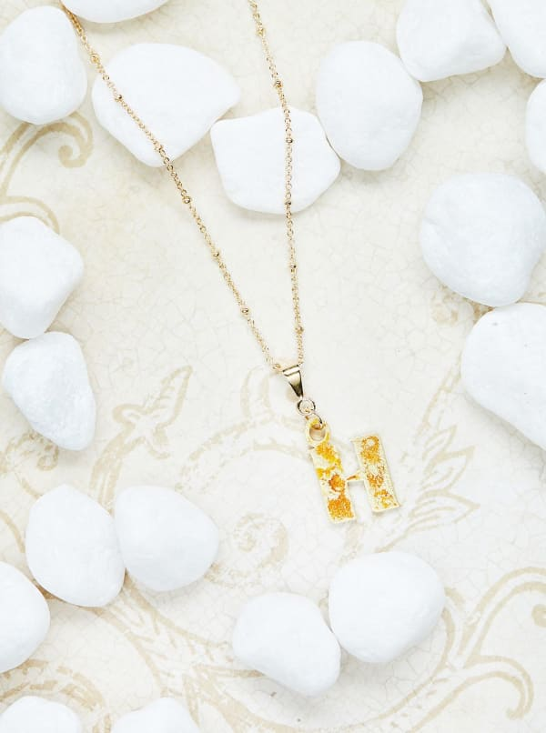 14K Gold Plated H Charm Necklace