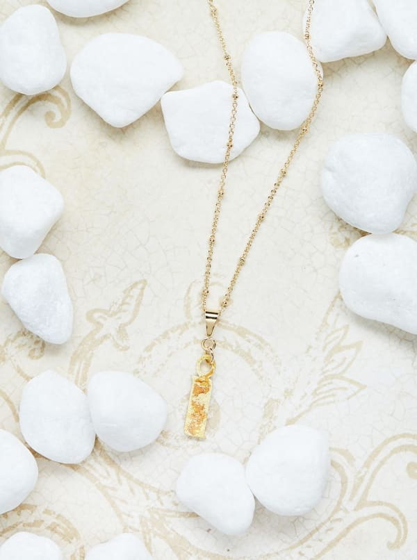 14K Gold Plated I Charm Necklace - Gold - Front