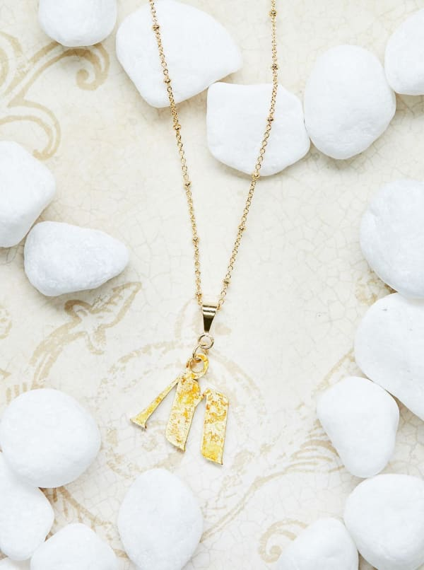 14K Gold Plated M Charm Necklace
