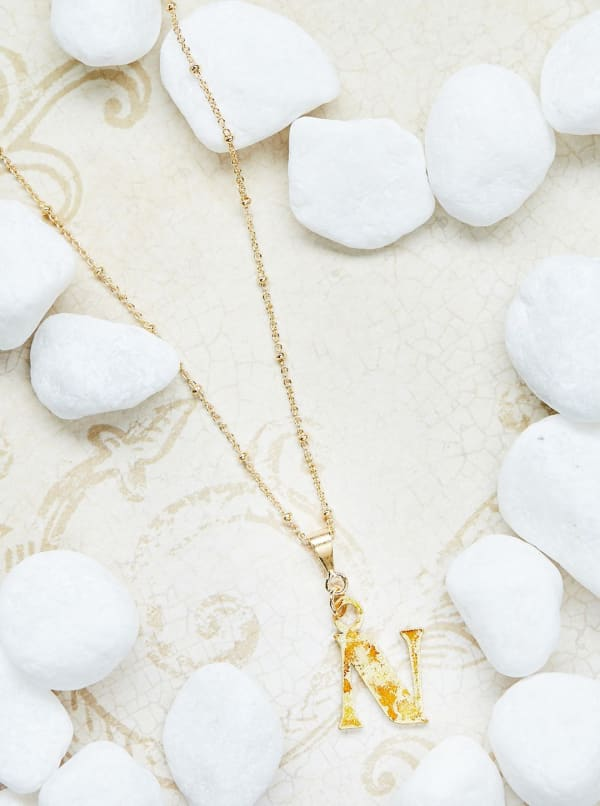 14K Gold Plated N Charm Necklace - Gold - Front