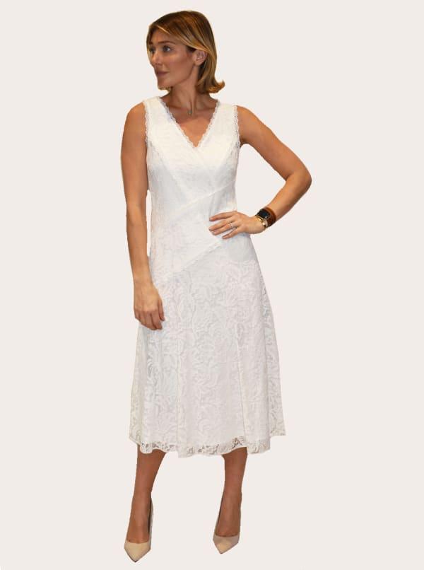 Taylor Dresses V-Neck Lace Midi Dress - Azure Slate - Front