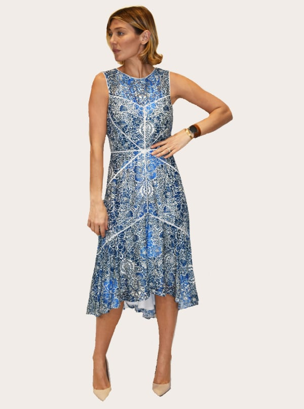 Taylor Dresses Printed Lace High Low Dress - Vibrant Blue - Front