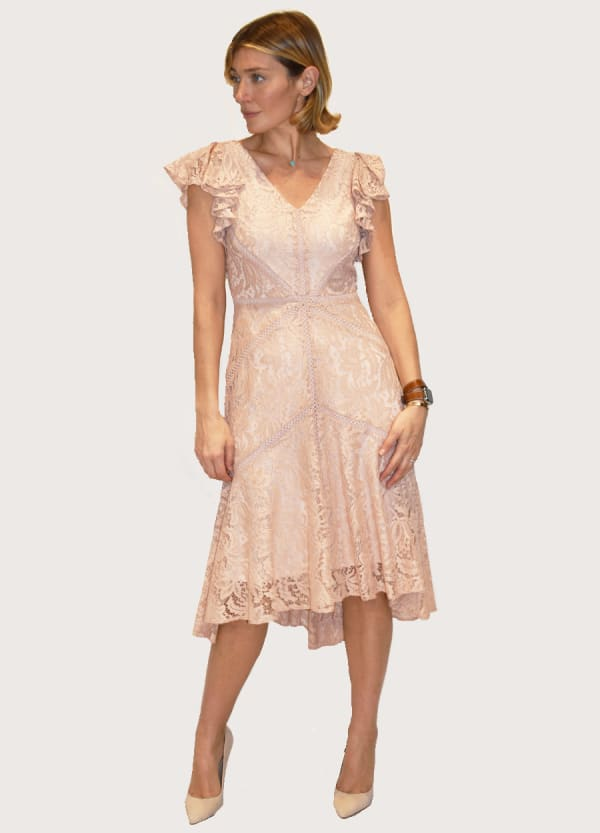 Taylor Dresses Ruffle sleeve Lace V Neck high low Dress with fagotting - Luxe Blush - Front
