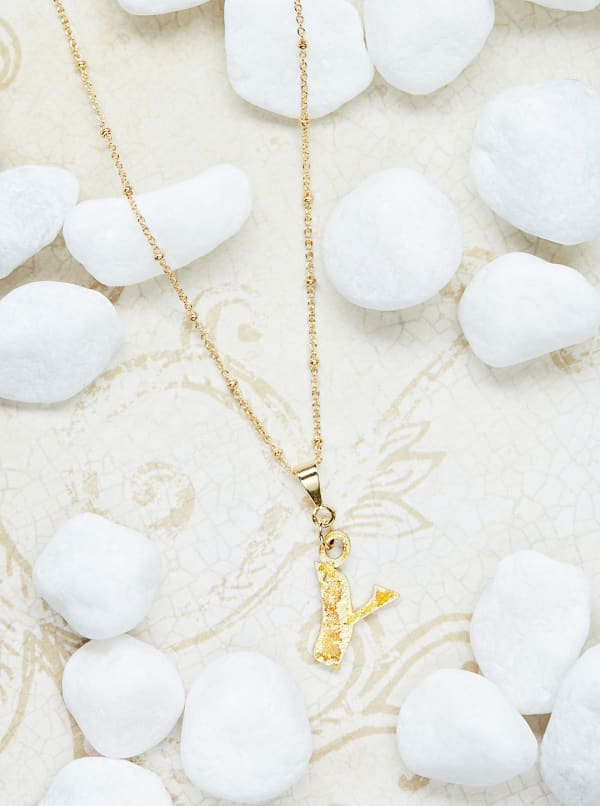 14K Gold Plated Y Charm Necklace - Gold - Front