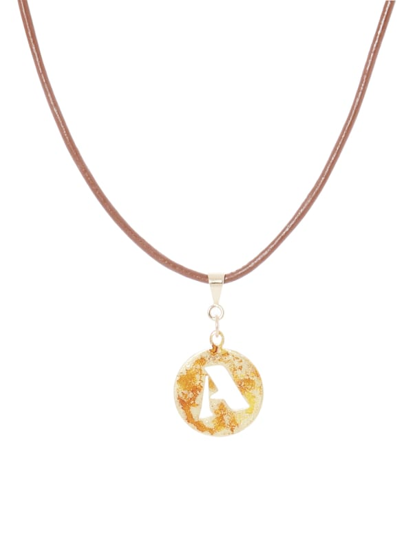 14K Gold Plated A Choker Charm Necklace - Gold - Front