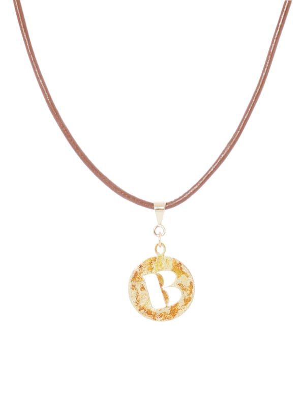 14K Gold Plated B Choker Charm Necklace - Gold - Front