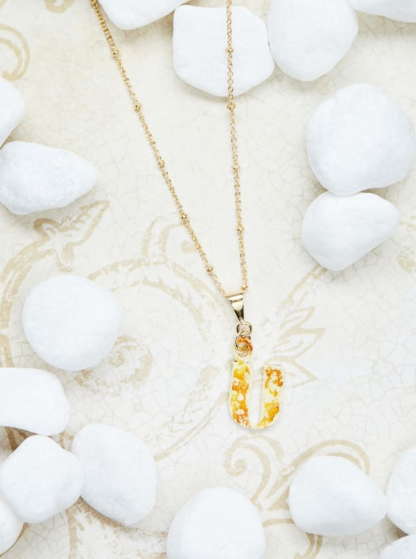 14K Gold Plated U Charm Necklace