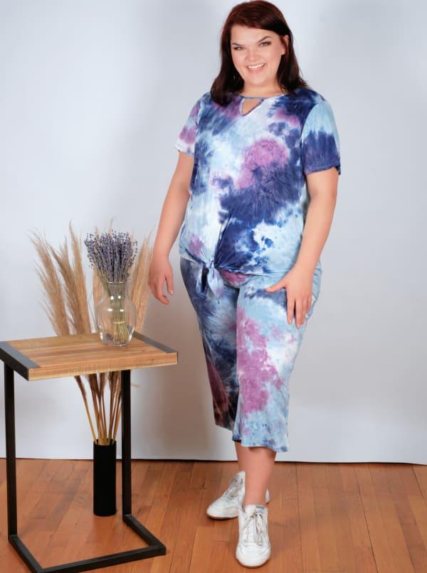 Magenta Tie Dye Wide Leg Capri - Plus - Magenta/Navy - Front
