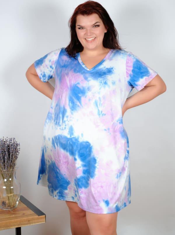 Violet Tie Dye V-Neck Dress - Plus - Violet/Blue - Front