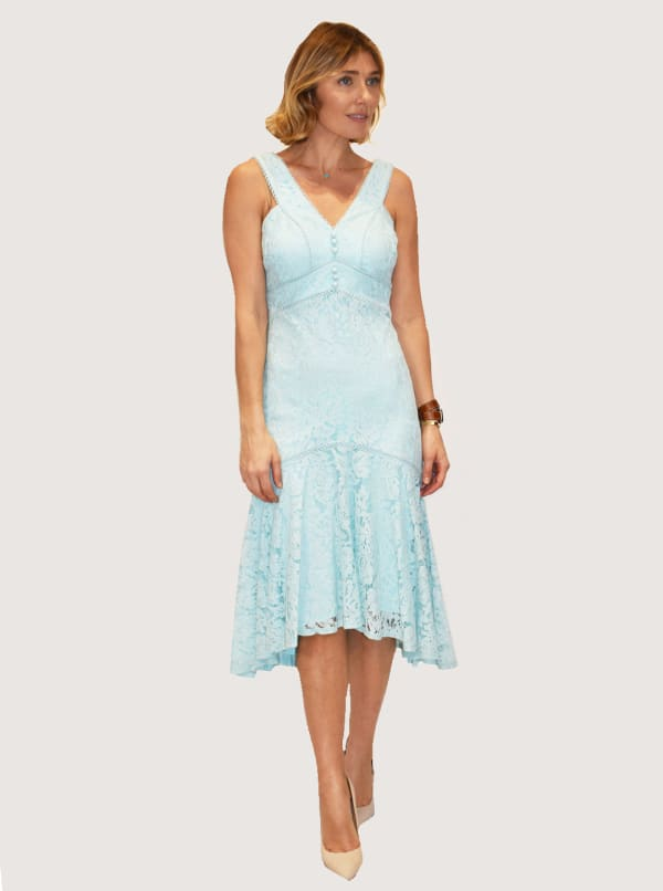 Lace V-Neck High Low Dress With Fagotting Stiching - Seafoam - Front