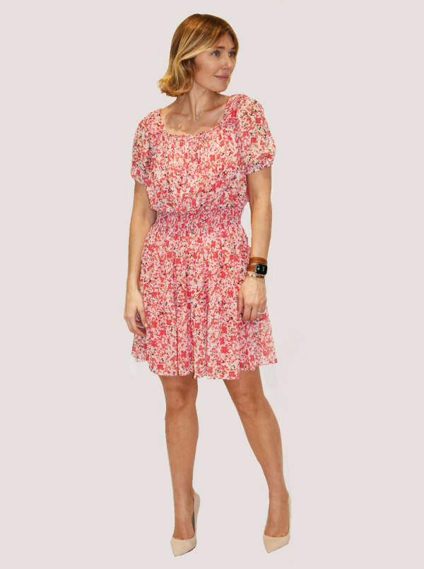 Taylor Dresses Printed Chiffon Dress with Smocking and Stretch Waistband - Ivory / Clementine - Front