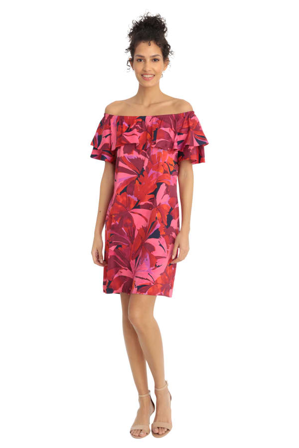 Denise Off the Shoulder Floral Ruffle Dress - Petite