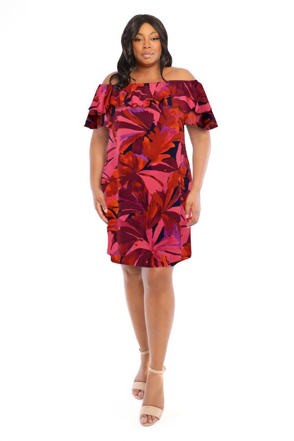 Denise Off the Shoulder Floral Ruffle Dress - Plus