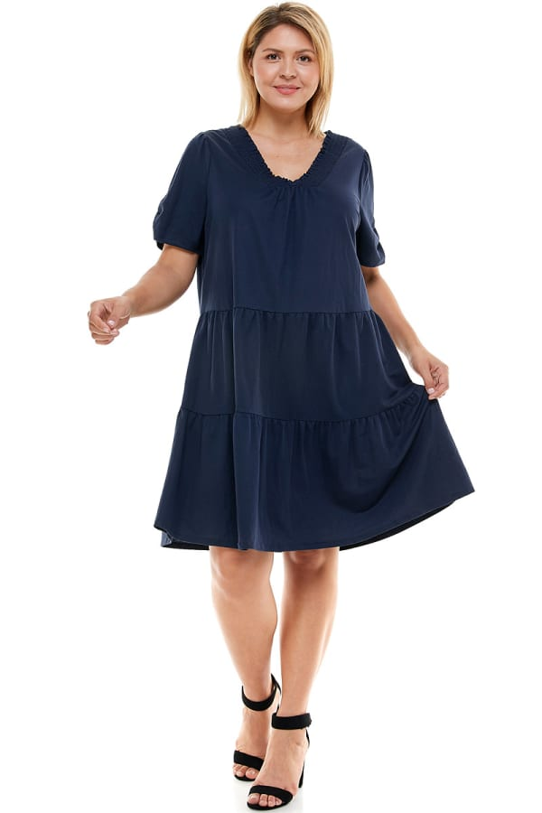Tiered Smock Neck Dress - Plus - navy - Front