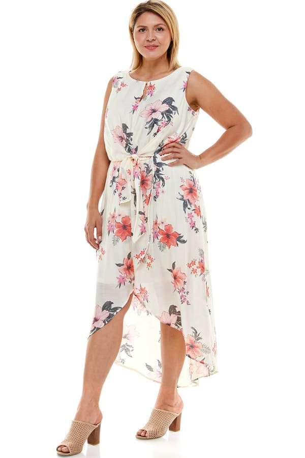 Floral Gauze Midi Dress - Plus