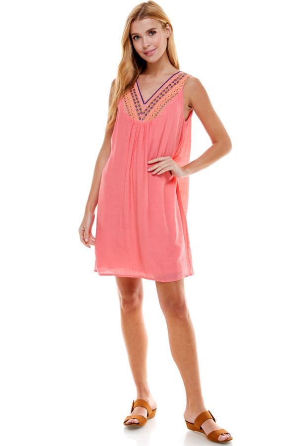 Gauze Embroidery Neck Sundress - Coral - Front
