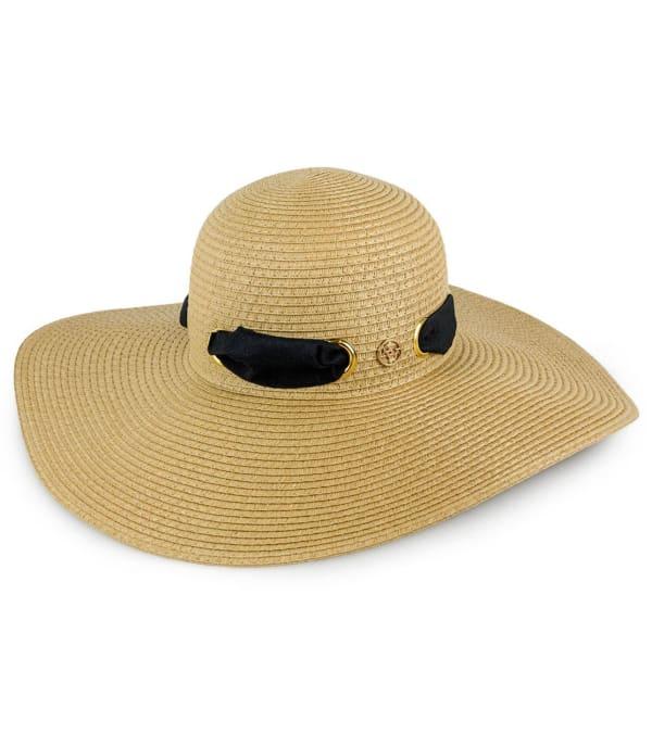 Adrienne Vittadini Ribbon Grommet Straw Floppy Hat - Toast - Front