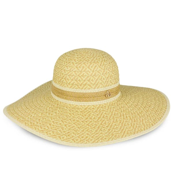 Adrienne Vittadini Contrast Border Pattern Straw Floppy Hat -Toast / Natural - Front