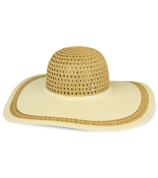 Adrienne Vittadini Cutout Contrast Brim Straw Floppy Hat - Toast / Natural - Front