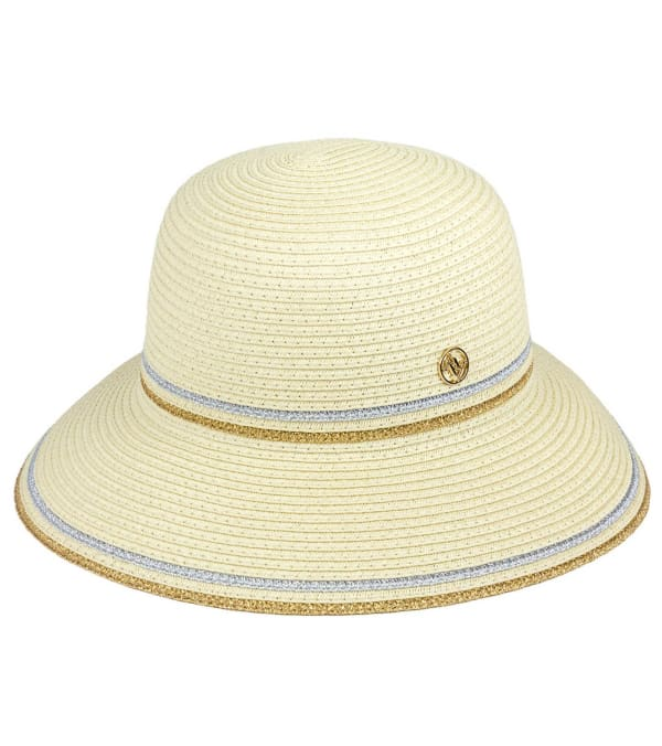 Adrienne Vittadini Metallic Striped Straw Bucket Hat - Natural - Front