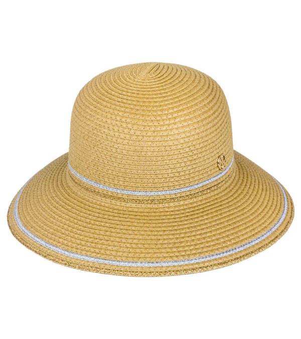 Adrienne Vittadini Metallic Striped Straw Bucket Hat - Toast - Front
