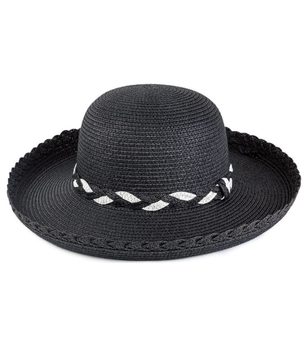 Braided Straw Kettle Hat - Black - Front