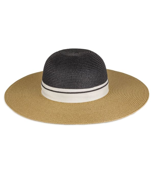 Ribbon Colorblock Straw Floppy Hat - Black / Toast - Front