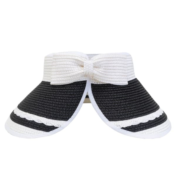 Striped Braided Bow With Adjustable Straw Visor