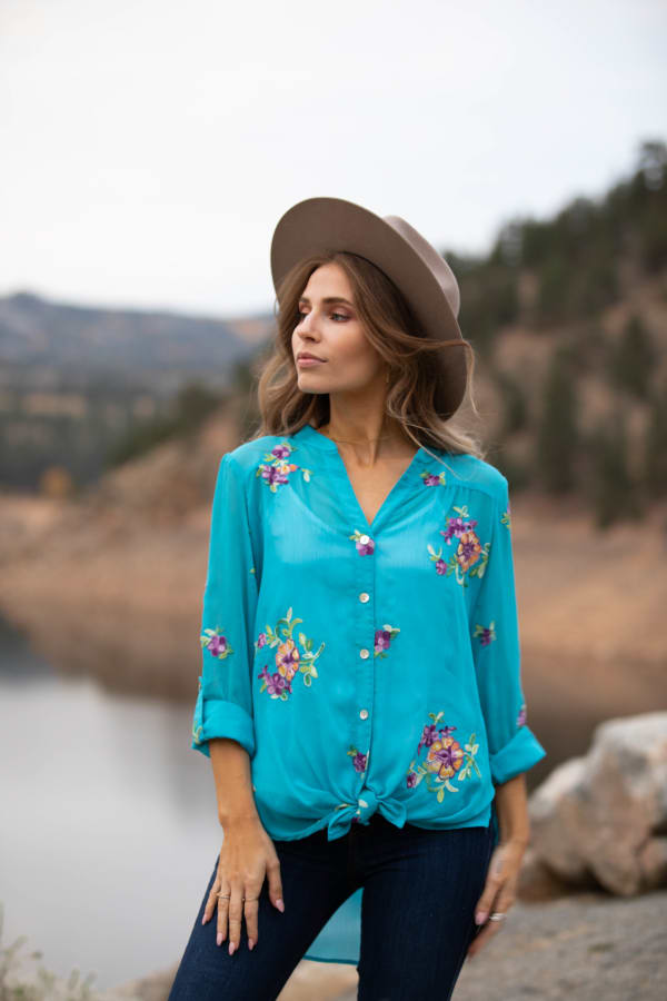 """Turquoise Embroidered """"To Tie Or Not To Tie"""" Blouse - Misses - Turquoise - Front"""