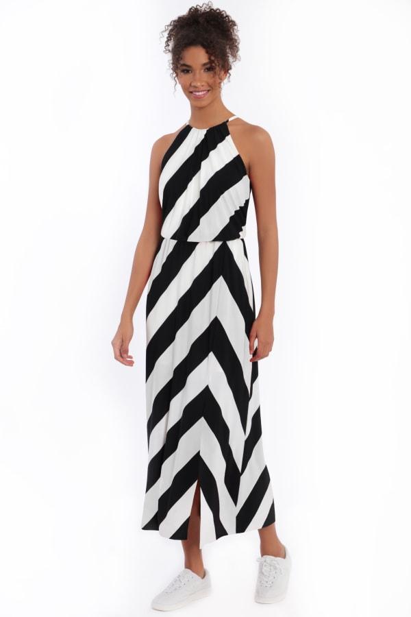 Hallie Blouson Halter Maxi with Front Slit Dress - Petite