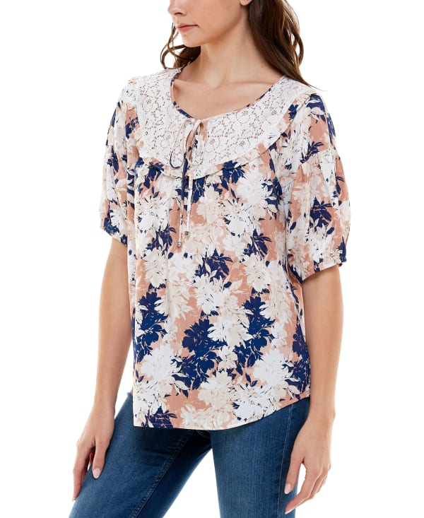 Elbow Sleeve Peasant Rayon Blouse - Oasis Floral - Front