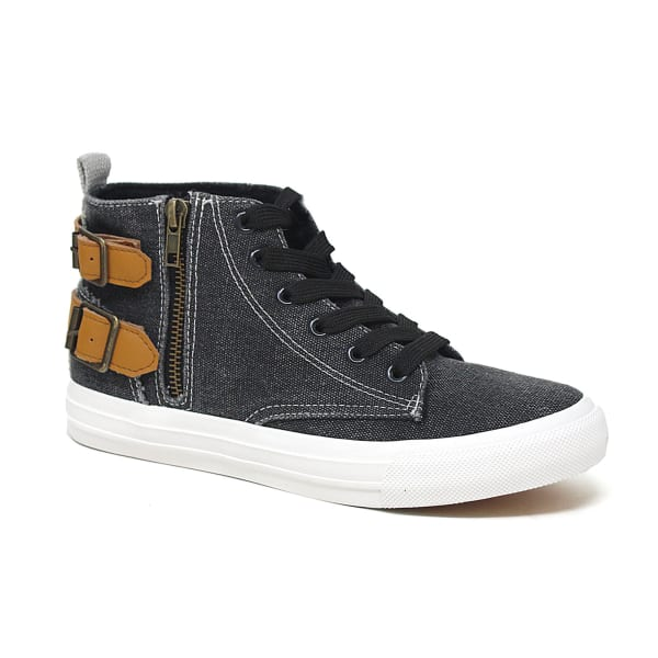 Retro Lace Up Canvas Sneaker - Black - Front