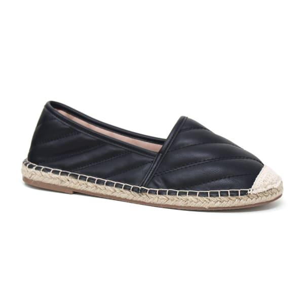 Flat Slip On Leather Espadrille Sandal - Black - Front