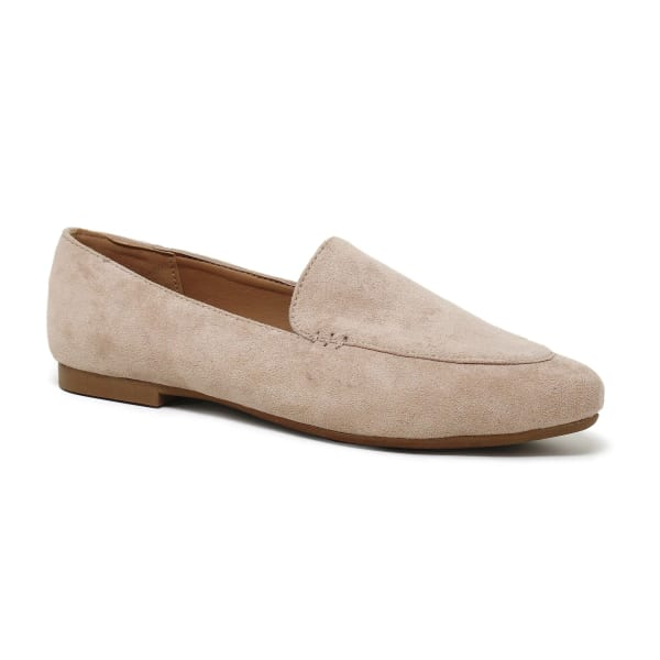 Suede Ballet Flat With Cover Toe - Beige - Front