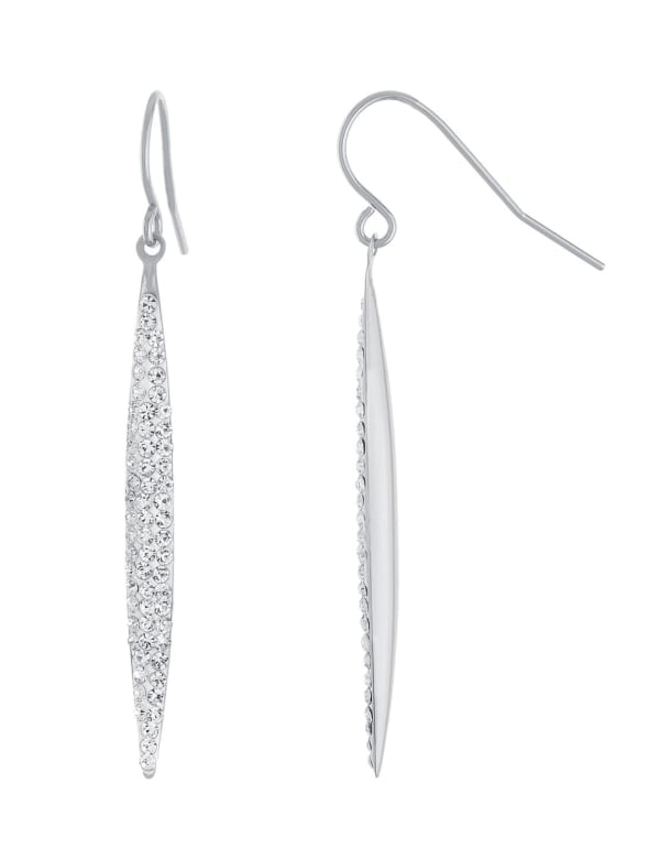 Sterling Silver Crystal Marquise Wire Earrings - Silver - Front
