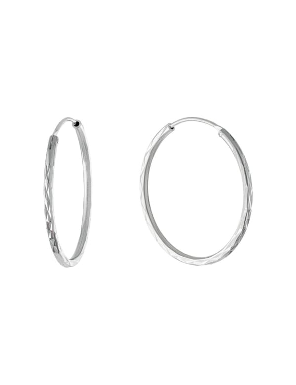 Sterling Silver 28mm Diamond Cut Endless Hoops - Silver - Front