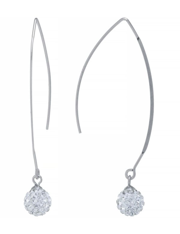 Sterling Silver Clear Crystal Wire Hooks - Silver - Front