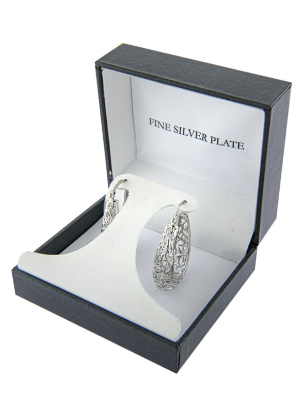 Boxed Fine Silver Plated 30mm Oval Filigree Hoops - Silver - Front