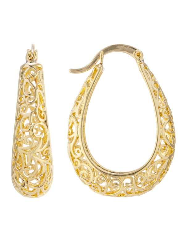 Boxed Gold Over Fine Silver Plated 30mm Oval Filigree Hoops