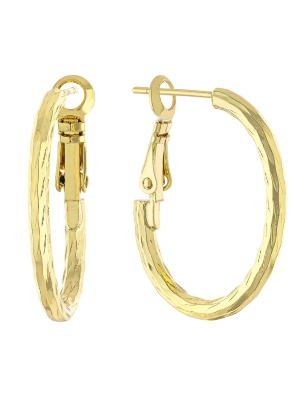 Boxed Gold Over Fine Silver Plated 20x27mm Diamond Cut Oval Hoops