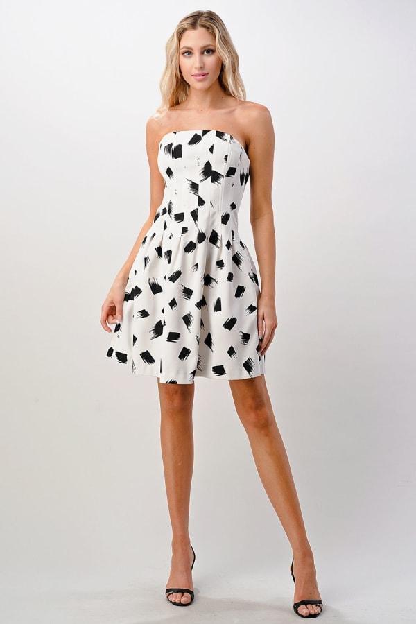 KAII Paint Brush Printed Tube Tucked Dress - White / Black - Front