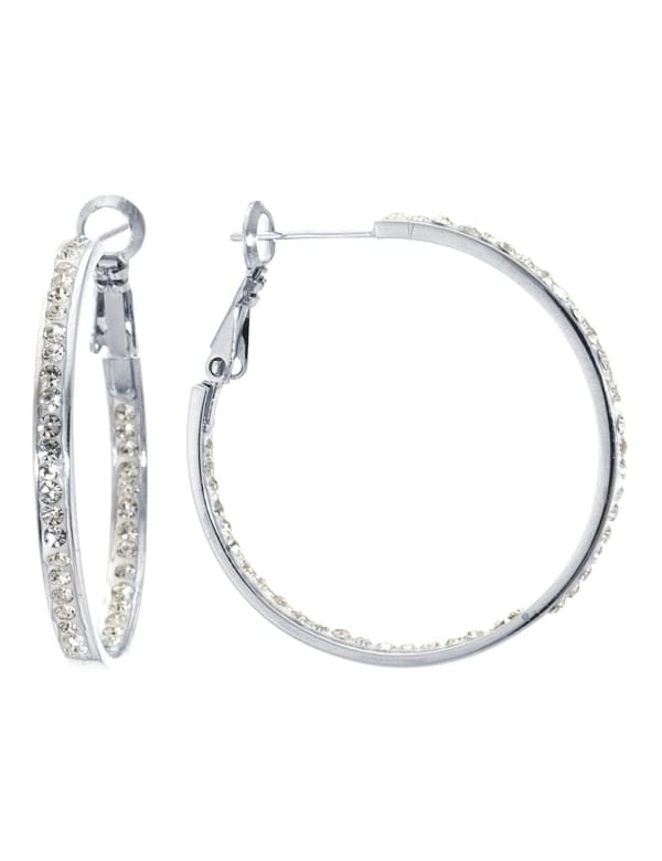 Boxed Fine Silver Plated 50mm Crystal Clutchless Hoops
