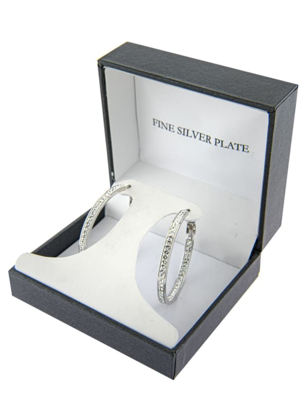 Boxed Fine Silver Plated 35mm Crystal Clutchless Hoops - Silver - Front