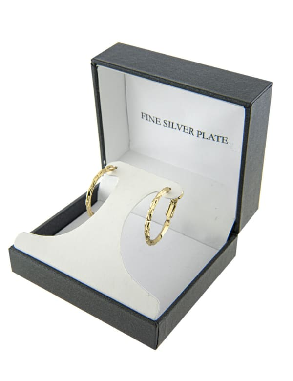 Boxed Gold Over Fine Silver Plated 26mm Diamond Cut Hoops - Gold - Front