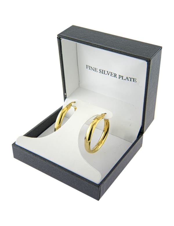 Boxed Gold Over Fine Silver Plated 30mm Click Top Hoops