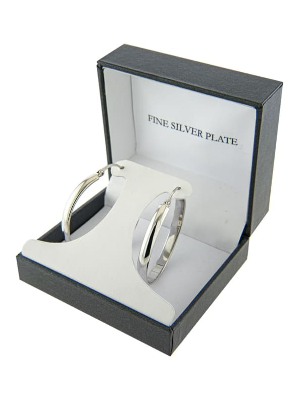 Boxed Fine Silver Plated 40mm Click Top Hoops